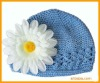Crochet kids hat with daisy flower