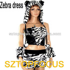 Fake Fur Women's Animal Mascot Costume Zebra Dress