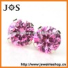 Fashion 925 Sterling Silver Pink Cubic Zirconia Stud Jewelry Earrings