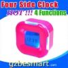 Four sided four functions digital clock