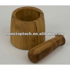 Beautiful Bamboo Wood Pestle & Mortar in a Stylish Gift Box