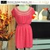 new fashion dress, short sleeve dress, solid color dress. crocheted neck dress
