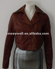 Ladies Fashion garment dyed PU Fake Leather Short Jackets / tops