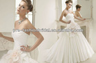 Sexy Sweetheart Pleated Satin Bodice with A Big Flower at Waist Pleated Layered Tulle Skirt New Model 2013 Wedding Dress