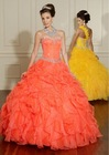 Organza New Arrival Fashion Strapless A-Line Elegant Tiered Ball Gown Yellow Wedding Dress BG-175