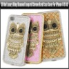 3D Owl Luxury Bling Diamond Leopard Chrome Hard Case Cover For iPhone 4 4S 4G,YAP317A