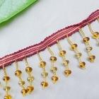 poplar Korea style golden glass beads curtain lace