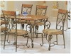Retro style powder coated finish dining set table and 6 pcs chair