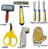pet grooming, dog rush, comb,nail scissors,rake,toothbrush,glove