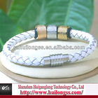NEW stainless steel magnetic clasp leather bracelet