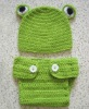 Handmade Crochet Newborn Sleeping Frog Baby Photo Hat/Diaper Cover