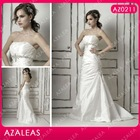 AZ0211 floor length strapless satin button embroidery fishtail evening dress