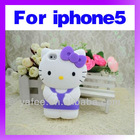 New Arrival 3D Cute Hello Kitty Silicon Case for iPhone5 5G O-881