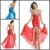 high quality new arrival one shoulder short front long back beaded red dress P-ED-268
