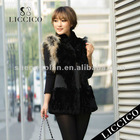 2012 girl real fur waistcoat black genuine Rex Rabbit Fur Vest #1807-B-1