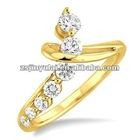 Seven Round CZ Diamond 18K Gold Fashion Ring
