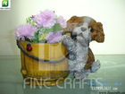 Resin dog figurine indoor flower pot