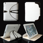 Double colors 360 Degree Rotating Luxury Brass Button Belt Leather Stand Pouch Case for iPad 3 iPad 4 White+Brown
