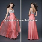 2012 gorgeous chiffon A-line Spaghetti Strap skirt Pink Seventeen Prom Cover Dress