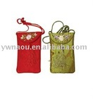 silk brocade mobile phone pouch with flower