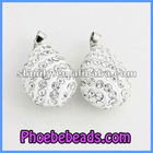 Wholesale High Quality Teardrop Shape White Crystal Rhinestone Pendant Beads Fit Necklace Making CNP-Z02