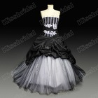 Real Picture 2012 New Style Ball Gown Taffeta Strapless Appliques Black Prom Dress