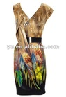 2013 Newest Design Sleeveless Floral Print Prom Dress,Ladies Prom Dress