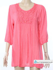 Women pink color dressy blouse,fashion OEM design,personality style,loose fitting design