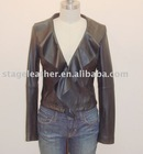 Women's lamb leather jacket with lotus collar