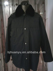 4 buttons black colour fur collar long work overalls for men