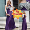 Big Discount Fashion One Shoulder Beaded Long Purple Prom Dress