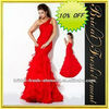 Organza One Shoulder Ruffled Red Corset Prom Dress