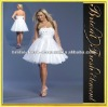 Organza Strapless Flowers Bodice White Knee Length Cocktail Dresses