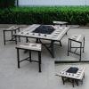 Square brown tile table set