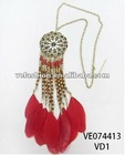 "21""+2"" METAL CHAIN NECKLACE W/CHAIN+FEATHER+WOOD/PLASTIC BEADS PENDANT"