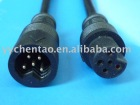 Waterproof plug and socket with 5 pin