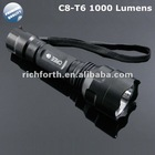 1000Lumen 10Watt C8 CREE XML T6 LED 5-mode Flashlight Torch C8T6 charger+18650+box