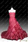 Real Sample Best Selling New Style Red Organza Appliques Beaded Strapless Floor Length Bridal Wedding Dress 2013