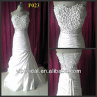 White taffeta handmade flower with beaded ruffle real sample wedding dress