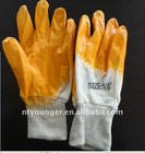 Yellow Nitrile Coated Gloves with 100% cotton interlock line