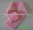 2012 fashion knit pattern plain pink acrylic scarf