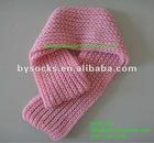 2012 fashion knit pattern plain pink acrylic scarf