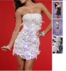 2012 New style Best selling sequin sexy one Shoulder feather dresses short