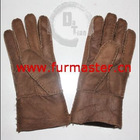 Womens Shearling Sheep Fur Gloves - Brown