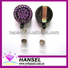 Rhinestone bling retractable plastic badge reel