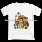 Cartoon Printing white100% cotton round collar One piece anime t shirt