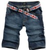 summer wrinkled and washing jeans skinny short for men