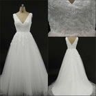 Most fashion sheer strap A-line tulle white zipper applique v-back court train 2012 cap sleeve appliqued tulle wedding dress