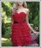 Hot red chiffon with ruffly bridesmaid dress 2012