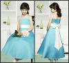 K4510 Light Blue Beautiful Ankle-length with Bow Satin Flower Girl Dress